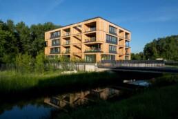 Hybride Erschließung – eines der Gebäude der Hybrid Houses, 2013 © Bernadette Grimmenstein / IBA Hamburg GmbH