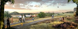 In the Parkstad region, a unique network of linked cycle paths and walking trails will be developed over the next few years. The route will link attractive natural greenery with the urban parks in the region © IBA Parkstad / Bosch Slabbers