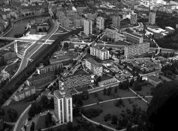 Luftaufnahme des Hansaviertels, 1962 © Landesarchiv Berlin, F Rep. 290 Nr. 0083467 / Foto: Karl-Heinz Schubert