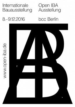 das Plakat der Ausstellung Open IBA in schwarzer Schrift auf weißem Hintergrund