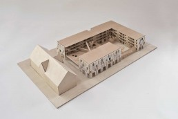 The Collegium Academicum IBA project plans a self-administered student residents for 200 young people on the US hospital conversion area, partially in existing buildings and partially in a modular timber building © drexler guinand jauslin